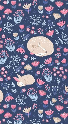 Sleep Well My Deer - cute pattern design with deer and bunny sleeping on the meadow. Hirsch Wallpaper, Deer Wallpaper, Wallpaper Iphone Cute, Animal Wallpaper, Disney Wallpaper, Flower Wallpaper, Cute Wallpapers, Wallpaper Backgrounds, Fabric Wallpaper