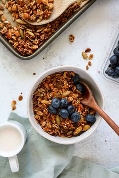 This flexible recipe for pantry granola is designed to utilize the random nuts, seeds, and dried fruit cluttering up your cabinets. Easy To Make Breakfast, Homemade Breakfast, Breakfast Snacks, Vegan Breakfast Recipes, Brunch Recipes, Breakfast Ideas, Trail Mix Recipes, Oats Recipes, Vegan Recipes