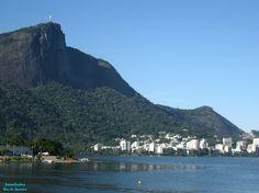 Cristo Redentor do ponto de vista no Leblon. Rio de Janeiro