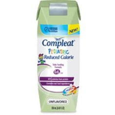 COMPLEAT PEDIATRIC REDUCED CALORIE * Packaged: 24-250ml cartons/case * Sold by case * HCPCS code: B4149 * Reduced calorie tube feeding formula for Pediatric Patients w/decreased energy needs * 0.6kcal/ml or 40% fewer calories than standard 1.0kcal/ml formulas * Contains CalfiLock blend of essential nutrients to help support healthy bone development * Made w/real food ingredients including chicken,fruit,vegetables & cranberry juice