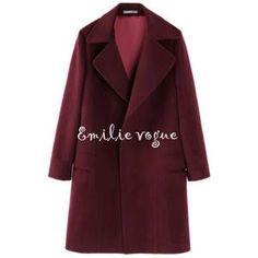 Manteau-veste femme-coupe-vent de laine en bordeaux grand revers-Emilie  vogue 6942aff9ec6