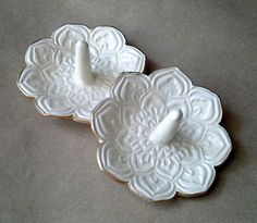 SALE TWO Lotus Ring Holder Bowls shower favors SECONDS Off White edged in gold - pinned by pin4etsy.com