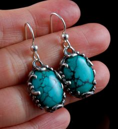 Bohemian Sterling Silver and Spiderweb Turquoise Dangle Earrings by Nattarika Hartman.