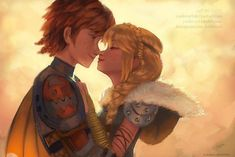 Hiccup and Astrid in love as a romantic couple