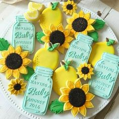 Mason Jar and Sunflower Cookies picnic theme Sunflower Birthday Parties, Sunflower Party, Sunflower Baby Showers, Sunflower Nursery, Sunflower Crafts, Baby Cookies, Baby Shower Cookies, Sugar Cookies, Horse Cookies