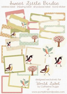 "This adorable ""Sweet Birds"" label collection is designed by Catherine Auger of Pumpkinsandposies.com  Labels are in printable PDF templates and are editable. Use for all types of favors."