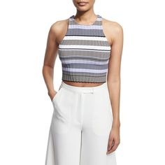 Elizabeth And James Sleeveless Racerback Striped Crop Top featuring polyvore women's fashion clothing tops thistle multi striped pullover stripe top white sleeveless top white crop top racerback top