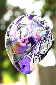 Masei Chrome Purple Skull 803 Flip-Up Motorcycle Helmet Free Shipping