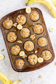 Picture of gluten-free banana walnut muffins baked and still inside the baking pan. Gluten Free Banana, Gluten Free Oats, Healthy Muffin Recipes, Bobs Red Mill, Protein Muffins, Vanilla Protein Powder, Gluten Free Breakfasts, Baking Pans, Eat