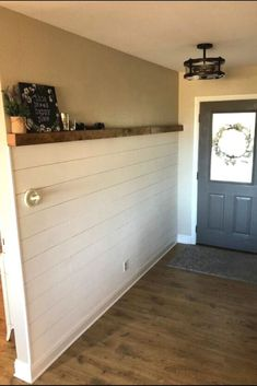 Are you decorating on a budget? check out this Joanna Gaines shiplap wall inspired before and after entrance wall makeover idea. This white shiplap wall is budget friendly and is easier than you think to put up. Faux Wood Wall, Faux Brick Walls, White Shiplap Wall, Faux Shiplap, Brick Fireplace Makeover, Shiplap Fireplace, House Ideas, Entryway Wall, Brown Furniture