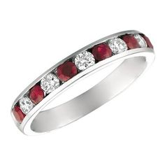 Morris & David  and Diamond 14K White Gold Ring, 0.37 TCW ($1,080) ❤ liked on Polyvore featuring jewelry, rings, ruby, diamond fine jewelry, diamond jewelry, 14k white gold jewelry, diamond band ring and 14k white gold ring