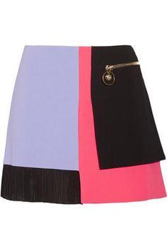 Color-block cady mini skirt #miniskirt #women #covetme #versace