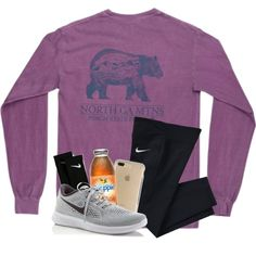 A fashion look from March 2018 featuring NIKE socks, NIKE sneakers and Speck tech accessories. Browse and shop related looks. Cute Workout Outfits, Cute Lazy Outfits, Cute Outfits For School, Sporty Outfits, Teen Fashion Outfits, Athletic Outfits, Simple Outfits, Classy Outfits, Stylish Outfits