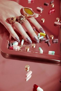 """Valley of the Dolls pill popping nails beauty shoot by Jamie Nelson"" Advertising Photography, Editorial Photography, Photography Ideas, Product Photography, Jewelry Editorial, Editorial Fashion, Beauty Editorial, Jewelry Photography, Fashion Photography"