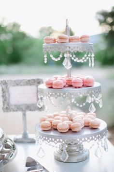 Image detail for -Pink macaroons, Macaroons on cake stand, Delicate cake stand