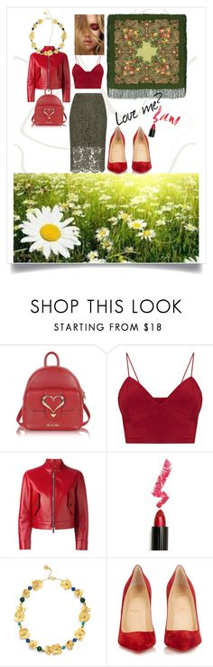 """""""Love me?"""" by sincerelyours-design ❤ liked on Polyvore featuring Love Moschino, Dsquared2, Lime Crime, Tory Burch, Christian Louboutin, Diane Von Furstenberg, red, Flowers, inspiration and laceskirt"""
