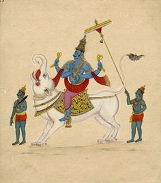 The deity Varuṇa riding on his makara (mythical creature) vahana (conveyance), shown with four-armed holding a lasso in each of the two upper hands; the lower ones are held in abhaya (right) and varada mudra (left). In front of him walks an attendant with a club while behind is shown another attendant holding a parasol. Company School, Tamil Nadu, 1820.