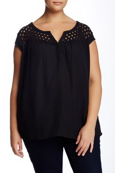 Split Neck Eyelet Yoke Tee (Plus Size) by Daniel Rainn on @nordstrom_rack