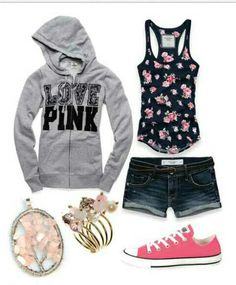 Pink hoody, Hollister shirt and shorts, pink (colored) earrings and bracelets, converse<3