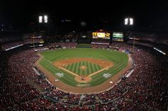 Night game at Busch Stadium, home of the St. Louis Cardinals.