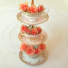 High Tea for Alice Original Teacup Tower in pink & gold English fine bone china tea cups and saucers for 3-tier flower vase, tiered candy dish, jewelry holder, Mad Hatter centerpiece, Alice in Wonderland sweets, princess party cake pops or pink roses tidbit serving tray...