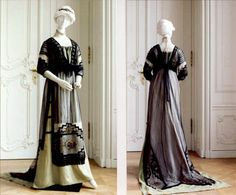 Dress ca. 1910-12. Pistachio green silk and black polka dot(?) tulle, embroidered with floral decoration in blue & gold and black glass beads. High-necked modesty of ecru cotton tulle. Vienna Museum