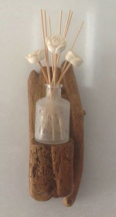 I make these driftwood candle holders, shelves. sconces etc using selected driftwood and flotsam washed up on the North Sea shores of Scotland. Driftwood Candle Holders, Driftwood Ideas, Diffuser, Ebay, Loudspeaker Enclosure