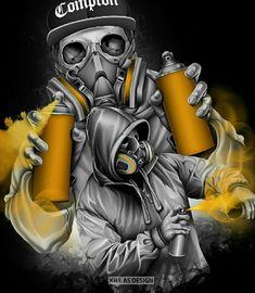 Angry Vob transforms a flat image into art size Graffiti Canvas Art, Graffiti Drawing, Graffiti Murals, Graffiti Lettering, Graffiti Cartoons, Graffiti Characters, Gas Mask Art, Masks Art, Aztecas Art