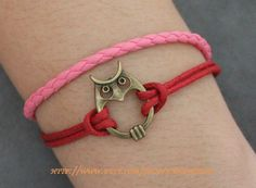Brass Cute Owl Bracelet, Red  Rope Bracelet, Pink Leather Bracelet