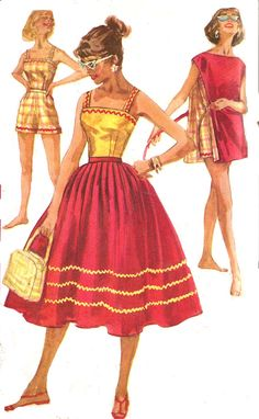 1950s Shorts Skirt Top Pattern Poncho Simplicity red yellow gold full skirt playsuit sundress by SelmaLee