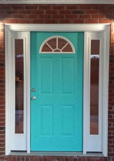Yellow Siding White Trim Teal Front Door For The Home