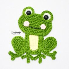 Crochet Frog, Crochet Amigurumi, Crochet Baby, Crochet Owl Blanket, Crochet Applique Patterns Free, Knitting Patterns, Frog Applique Pattern, Crochet Appliques, Crochet Hook Sizes