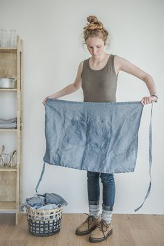 FREE SHIPPING Linen apron. Washed swedish blue by notPERFECTLINEN