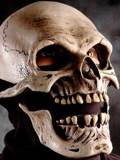Amazon.com: Death Skull Mask w/ Moving Mouth Action Adult Halloween Costume Accessory: Clothing