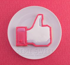 """When """"love"""" is a little too strong for Valentine's Day, at least show him you """"like"""" him. (Facebook like valentine cookie)"""