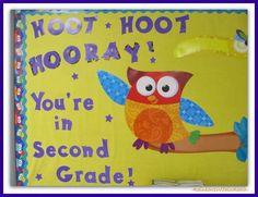 Owl Themed Second Grade Bulletin Board via RainbowsWithinReach