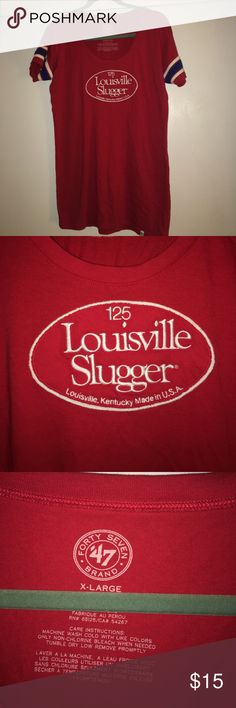Louisville Slugger T shirt NWOT. Size women's XL but fits more like a fitted Large. Middle logo is stitched on. Side sleeve details 47 Tops Tees - Short Sleeve