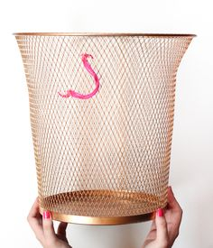 gold spray painted paper bin
