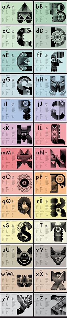 Freaks #Alphabet by Studio My Name is Wendy    Weekly typography inspiration for everyone! Introducing Moire Studios a thriving website and graphic design studio. Feel Free to Follow us @moirestudiosjkt to see more outstanding pins like this. Or visit our website www.moirestudiosjkt.com to learn more about us. #typography #GraphicDesign   