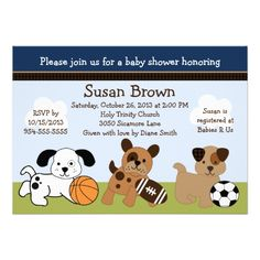 Bow Wow Puppy Dogs and Sports Baby Shower Invitation