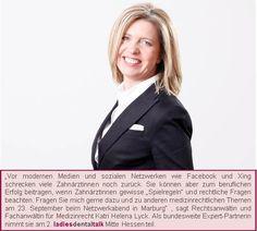 Medizinanwältin Katri Helena Lyck berät Sie beim ladies dental talk in Marburg am 23. September.