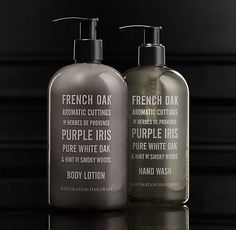 RH's French Oak Soap & Lotion Collection:Custom blended from the finest aromatics, our European Scent soaps and lotions gently clean and moisturize. Bane, Hand Lotion, Body Lotion, Purple Iris, Home Scents, French Oak, Restoration Hardware, Fragrance, Pure Products