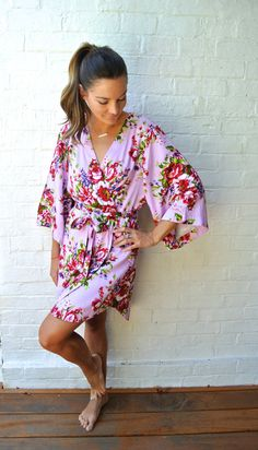 Love this pretty floral kimono robe from Piyama. It's perfect for those getting ready shots with your bridesmaids!