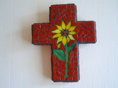 Mosaic Sunflower Cross Sunflower Wall Art by cactuscountry on Etsy
