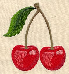 Classic and delicious, a pair of cherries will be cute on girly wearables and accessories.