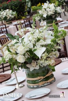 Tablescape ● Floral Centerpiece ● White & Green
