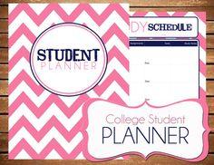Instant Download - Student - College Planner Pink Chevron Printable Planner Organizer  - (Organized Family Binder) on Etsy, $10.00