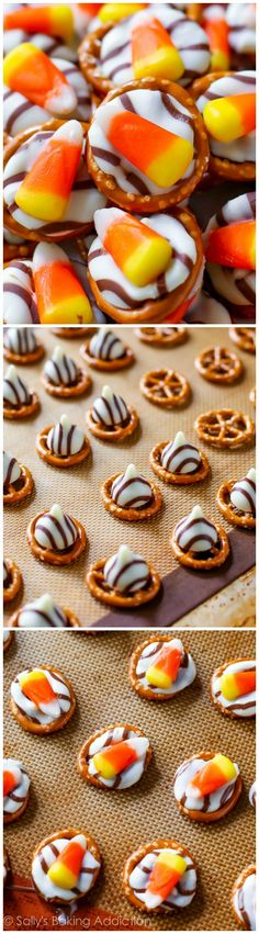 Candy Corn Pretzel Hugs! An easy 20 minute Fall treat! This sweet, bite-sized dessert is EASY, festive, fun, sweet, and salty.