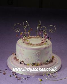 Flower scroll, stencil and jewelry cake