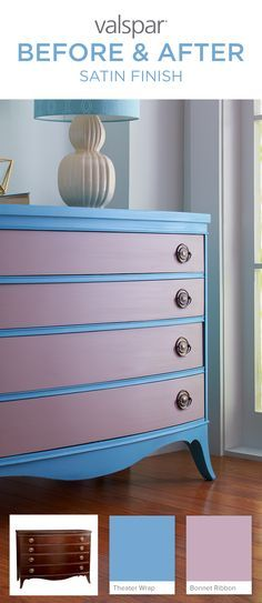Valspar chalky finish paint will help you save time for more weekend plans. With little to no surface prep and over 40 tintable colors, Valspar makes it easy for you to grab that favorite piece of furniture and let your inner craft skills take over with colors like Theater Wrap and Bonnet Ribbon. Learn more about Valspar chalky finish paint here: http://www.valsparpaint.com/chalkyfinishpaint